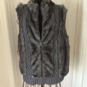 Charcoal Gray Vest. Faux Fur front,sweater back